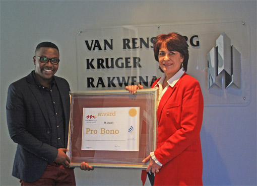 Marché Davel was presented with the Pro Bono award of the Law Society